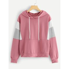 Shop Cut And Sew Drawstring Hoodie online. SHEIN offers Cut And Sew Drawstring Hoodie & more to fit your fashionable needs. Shein Pull, Hoodie Sweatshirts, Hoodies, Fashion News, Fashion Outfits, Womens Fashion, Sweat Shirt, Pulls, Cute Outfits