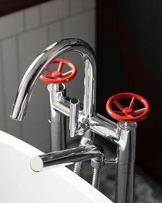 Industrial tap design by Watermark Designs (@watermarkbrooklyn) #hellopeagreenspots #taps #bathroom