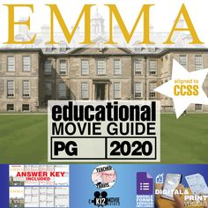 #Emma Movie Movie Guide | Questions | Worksheet (PG - 2020) challenges students to dive deep into #JaneAusten's complex characters and story. #Teachers #MovieGuides #LessonPlans #TPT #TeachersPayTeachers #CCSS #CoronaVirus #Homeschooling #RemoteLearning #DistanceLearning #StaySafe