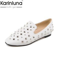 828ed0695e73 KarinLuna Large Size 32-46 Customization Slip On Woman Shoes Fashion Flats  Comfortable Casual Women