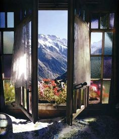 Snow through the window.  Perfect way to see the Alps
