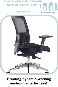 Designer mesh back chair with aluminium 5 star base. Black air mesh seat and designer mesh back with adjustable lumbar support. Available with adjustable arms and optional padded head rest4 position locking synchro mechanism. Gas lift adjustment with weight tension control. Seat depth adjustment with tilt lock. Business Furniture, Home Office Furniture, Gemini Color, Mesh Chair, Furniture Direct, Back Seat, Chair Fabric, Mesh Fabric, Tilt
