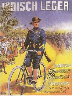 Tempo Doeloe - Indisch Leger.Old Indonesian ad, colonial   Dutch Army in Indonesia looking for recrutes