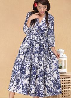 New National Style Blue And White Porcelain Printing Long Sleeve Loose Dress--Click the picture can place an order,we support wholesale Korean clothes. #shoes #wholesale #fashion #lovely #cheap #Korean #dress #sexy