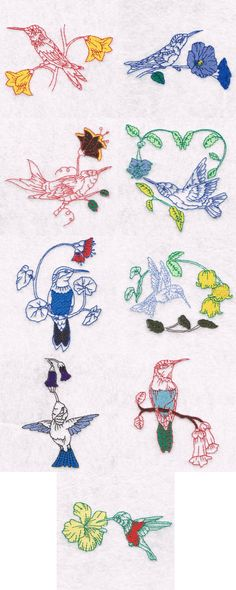 Hummingbirds and Flowers Embroidery Machine Design Details