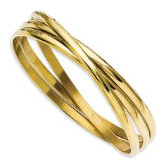 Chisel Stainless Steel Gold-plated Intertwined Bangles Style # SRB 911GP