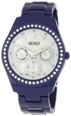 XOXO Women's XO5299A Rhinestone Accent Dark Blue Enamel Bracelet Watch