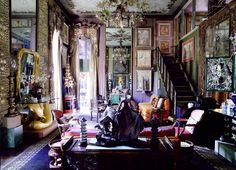 The King of more-is-more decoration that works.  This is a room in the house of iconic designer, the late Tony Duquette. Photography by Richard Powers