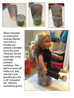 Oatmeal container chair for American Girl doll.