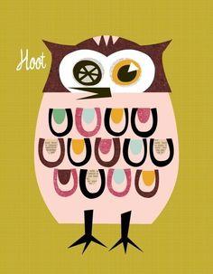 Giclee Print (item No. P-2009-22) Owl pink