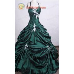 Popular Ball Gown Halter Top Neck Floor-length Dark Green Quinceanera... ($33) ❤ liked on Polyvore featuring dresses, gowns, ball gown, green gown, green quinceanera dresses, halter gown, quinceanera ball gowns and green halter top
