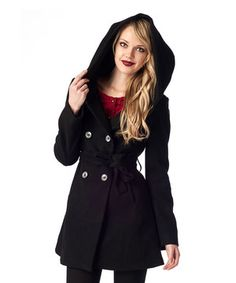 Another great find on #zulily! Black Hooded Cachet Coat by Ironi Collection #zulilyfinds