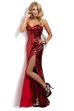 2014 Hot Red Sequin Shimmer Sweetheart Column Slit Prom Dress New Style USD 149.99 TSPPM9Q4D7J - StylishPromDress.com
