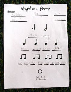 Rhythm Poems- 4th grade