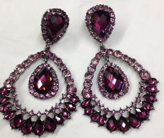 Purple Chandelier Tear Drop Clip-on Earrings | Costume Fashion ...