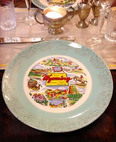 souvenir plates -- use as chargers, with clear plates. Don't eat from these plates, as the may contain lead paint. they were never meant to be food safe. Clear Plates, Lead Paint, Motel, Safe Food, Decorative Plates, Entertaining, Vacation, Signs, Eat