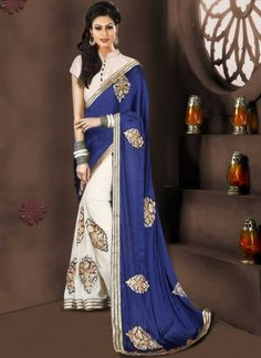 Blooming Blue And Off White Half N Half Embroidery Work Designer Sarees http://www.angelnx.com/Sarees/Designer-Sarees