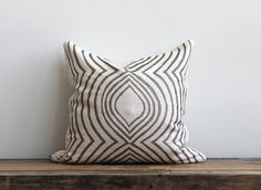 Aya Contour metallic silver pillow cover hand printed on off-white organic hemp 20x20