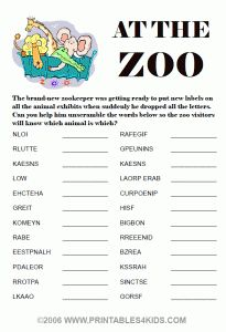 Word Scramble worksheet with a Zoo theme.