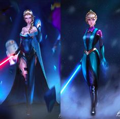 "This fan art of Elsa from ""Frozen"" if she were in ""Star Wars"" is ~amazing~ Jedi Princess, Disney Princess Art, Disney Fan Art, Disney Crossovers, Disney Memes, Disney And Dreamworks, Disney Pixar, Disney Characters, Equestria Girls"