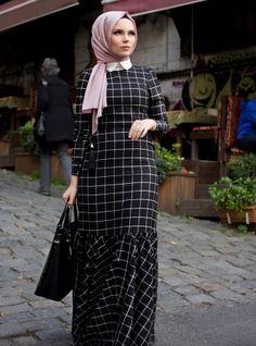 Robe à carreaux - Noir - Muslima Wear