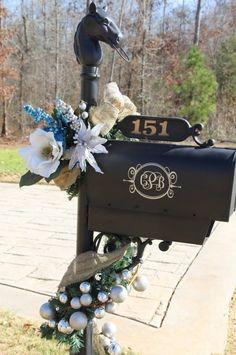 2013 Christmas mailbox cover decor, Christmas silvery balls garland  mail box decor #2013 #christmas #mailbox #decor www.loveitsomuch.com