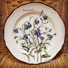 """Купить Тарелка фарфоровая """"Полевые цветы. Колокольчик"""" - темно-синий, тарелка, Тарелка декоративная"""