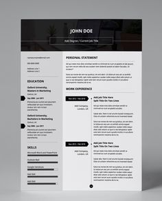 Get this attractive resume template in double page amendable PDF format! Professional and minimalist predesign. Easy to use and edit! Resume Pdf, Modern Resume Template, Creative Resume Templates, Cv Template, Cv Pdf, Free Resume Examples, Current Job, You Better Work, Work Ethic