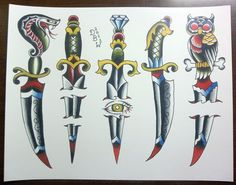 Daggers: Traditional Tattoo Flash Sheet. $10.00, via Etsy.