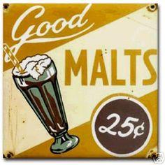 Soda fountain malts. Vintage Diner, Retro Diner, Vintage Metal Signs, Vintage Ads, Vintage Posters, Vintage Food, Vintage Labels, Vintage Stuff, Vintage Images