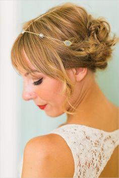 Delicate halo and cute updo wedding hair. Hair: Tigerlily Salon ---> http://www.weddingchicks.com/2014/05/26/bacon-and-eggs-picnic-wedding-reception/