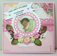 Bentes kreative side: Dåpskort til jente...  /  Baptism card for a girl....