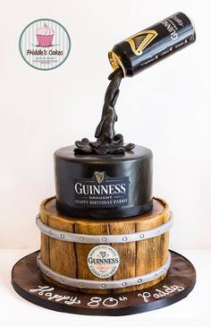 Friddle's cakes Gravity defying Guinness birthday cake.