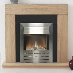 Adam Malmo Fireplace Suite in Oak with Helios Electric Fire in Brushed Steel 39 Inch   Fireplace World