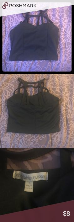 ‼️ SALE 2/$10 all crop tops‼️ CR Strappy Crop Top Charlotte Russe lined black crop top with stewpot detail. Worn only once. Great condition! Charlotte Russe Tops Crop Tops