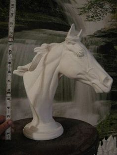 Awesome Lg Throughbred Horse Bust, bisque ceramic. $16.75, via Etsy.