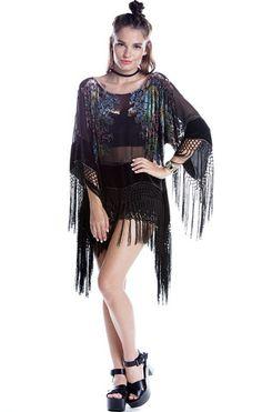 Jagger Black Floral Velvet Burnout Fringe Top - Saltwater Gypsy #saltwatergypsy