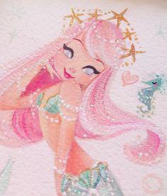 Pastel Princess  #gouache #mermaid #painting                              …
