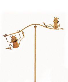 Look what I found on #zulily! Frog Balancing Garden Stake #zulilyfinds