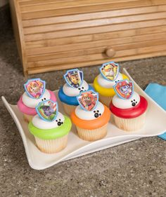 Get ready for a paw-raising party with these cupcakes. Each features a shield-shaped keepsake ring with one of the characters from PAW Patrol™. Toddler Birthday Cakes, Baby Boy Birthday, Bday Girl, 4th Birthday Parties, Birthday Bash, Birthday Ideas, Paw Patrol Cupcakes, Paw Patrol Cake, Paw Patrol Party