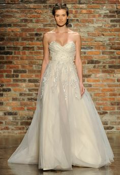 """Haley Paige Spring 2014 Wedding Dresses Style 6412, """"Star"""" alabaster (looks pink to me, but then most things do) tulle A-line wedding dress, with crystal encrusted bodice and skirt, sweetheart neckline and chapel train,"""
