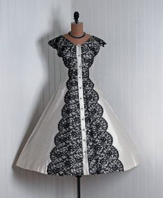 Party Dress, Bains, Las Vegas: 1950's, silk and scalloped Chantilly lace, rhinestone-trimmed bodice, full circle skirt.