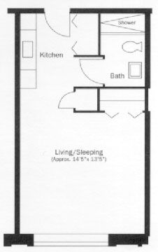 Studio Apartment Floor Plan studio apartment | floor plans | evergreen terrace apartments
