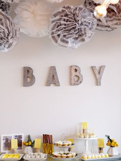 Sweet Grey Letters Modern Yellow Baby Shower Dessert Table With Giant Tissue Poms