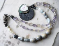 SALE  Beaded Necklace  Ametrine Glass Mother of by shipwreckdandy