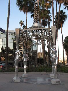 """The """"Four Ladies of Hollywood"""" gazebo at the end of the Hollywood Walk of Fame. The four ladies are: Dolores Del Rio, Mae West, Anna May Wong and Dorothy Dandridge."""