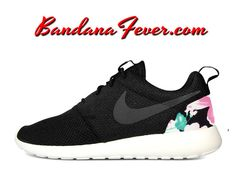Nike Mauve Floral Roshe Run Men's by BandanaFeverDesigns on Etsy