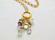 table grapes necklace - spring gemstone necklace, gold, amethyst, prehnite, handmade jewelry by FoamyWader on Etsy