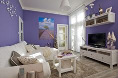 Romantické s nádechem Provence - HomeInCube Provence Style, Lavender Fields, Living Spaces, Entryway, Gallery Wall, Couch, Tv, Inspiration, Furniture