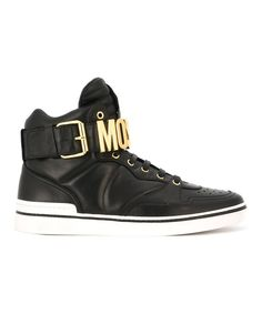 MOSCHINO Moschino Men'S  Black Leather Hi Top Sneakers'. #moschino #shoes #sneakers